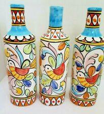 Set of 3 Solimene Vietri Hand Painted Decorative Bottles/Vases