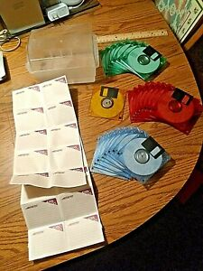 "Memorex Cool Disks 24 New PC Formatted 3.5"" Computer Diskettes & File box L@@K!!"