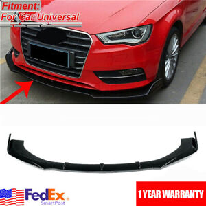Glossy Black Front Bumper Lip Spoiler Splitter Protector For AUDI A3 A4 A5 A6 A7