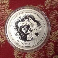 Perth Mint 2012 Year of the Dragon half oz 999 Fine Pure Silver UNCOLOURED