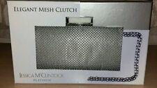 Jessica McClintock Platinum Elegant Mesh Black Clutch Bag, Chain Shoulder Strap