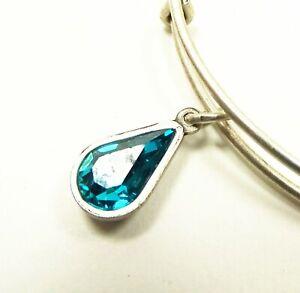 ALEX and ANI  Rafaelian Silver Swarovski Blue Zircon Bracelet with Charms