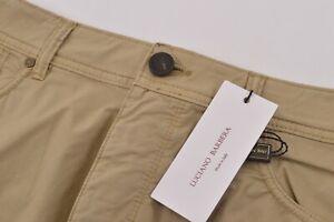 Luciano Barbera NWT 5 Pocket Casual Pants Sz 52 36 US Khaki Tan Cotton Blend