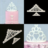 5A56 2Pcs/Set Crown Plastic Fondant Cutter Cutting Cake Mold Cupcake Decorating