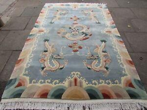 Vintage Hand Made Art Deco Chinese Oriental Grey Blue Wool Carpet 275x180cm