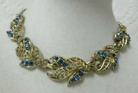 Vintage Open Work Gold Tone Deep Blue Rhinestone Leaves Collar Necklace