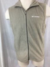 Columbia Fleece Vest Men Size Medium Beige Ivory Soft Full Zip Sleeveless Pocket