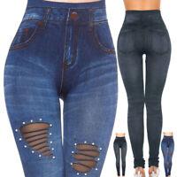 Damen Leggings Skinny High Wasit Jeans Hose Denim Stretch Röhrenhose Leggin S/H
