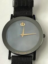 MOVADO MUSEUM WATCH RARE BLUE MOTHER OF PEARL LEATHER BAND UNISEX