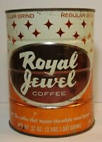 Large Vintage 1960s ROYAL JEWEL GRAPHIC COFFEE TIN 2 POUND MELROSE PARK ILLINOIS