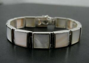 FAS Mother of Pearl Square Stones Sterling Silver 925 Link BRACELET