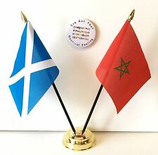 Scotland & Morocco Double Friendship Table Flags & Badge Set