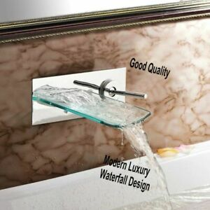 Contemporary Chromes Bathtub Waterfall Faucet Solid Brass Tempered Glass Faucets