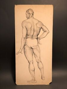 1910s-1920s ANTIQUE Academic Drawing MALE NUDE Pen & Ink PHYSIQUE STUDY Fine Art