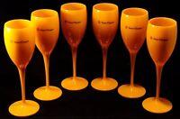 Veuve Clicquot Yellow Label Acrylic Champagne Flute Glasses Brand New Set x 8!