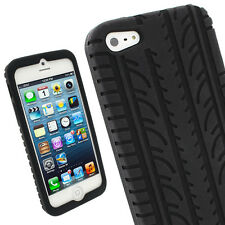 Negro Silicona Funda Carcasa Case Neumático Tyre para New Apple iPhone 5C 4G LTE