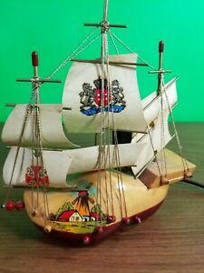 VTG Holland Hand Painted Wood Clogg Viking Boat Decorative Lamp.