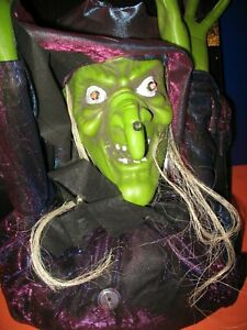 Halloween Hanging Witch Light Up Eyes Spooky Sounds Decor 6 ft Tall - Brand New!
