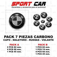 PACK 7 INSIGNIAS BMW CARBONO BLANCO Y NEGRO EMBLEMA CAPO MALETERO VOLANTE RUEDAS