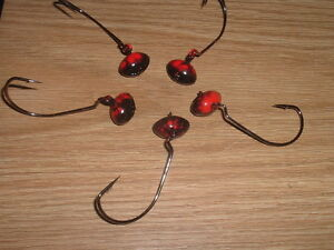 Custom Lot Of 5 Wobble Head Football Jig 7/16 oz. Bloody Red & Black 4/0 EWG Hk.