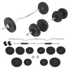 Vidaxl juego de pesas 60 kg barra y mancuernas
