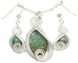 Dino Hemo Jasper& Swarovski Crystal Wire-Wrapped Earring/Necklace Set-Sterling S