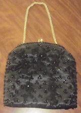 Vintage Evening Bag Purse Black Beaded Flowers Gold Formal