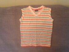 Girls 3-4 Years - Sleeveless Top - White with Coral & Turquoise Stripes