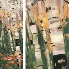 """15""""x45"""" TANGO by GRAHAM FORSYTHE TALL SLIM BUNCHED UP TREES in FOREST CANVAS"""