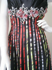 STEP OUT IN STYLE! BLACK BEADED FORMAL/EVENING/PROM DRESS; COLOR STRIPE AU12US10