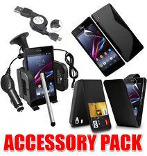 7 X Paquete De Accesorios Kit Para Sony Xperia Z1 + Funda Soporte para coche Cargador
