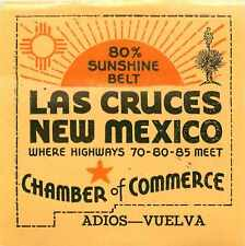 LAS CRUCES / NEW MEXICO - Great Old Travel Luggage Label