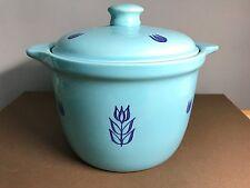 Vintage Cronin Cameron Clay Pottery Blue Tulip Lidded Dutch Oven Bean Pot