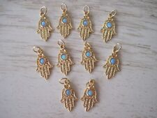 Pendants Wholesale for Bracelets & Necklaces 10 Gold Plated Hamsa Hand with Opal