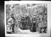 Original Old Antique Print Prince And Princess Wales At Manchester 1887 Royal