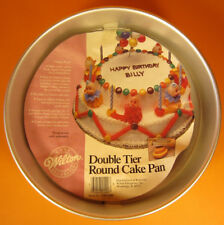 Wilton Double Tier Round cake pan 1986 bake a 6 inch 10 inch layer in one pan