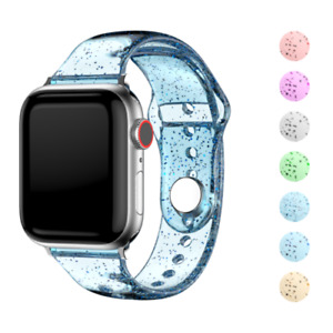 For Apple Watch Series 6 5 4 Se Silicone Bling Clear Replacement Straps Durable