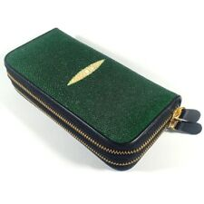 NEW GENUINE AAA GRADE STINGRAY SKIN LEATHER WOMEN WALLET PURSE GREEN