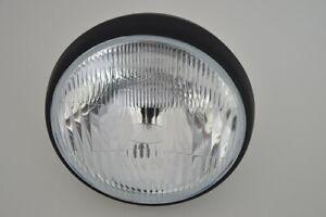 "7.5"" Motorbike Headlight Black Steel Side Mount 55/60w Beam For Retro Build"