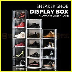 Sneaker Display Shoe Box Storage Case Transparent Clear Plastic Boxes Side Stack