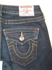 True Religion Jeans Women Billy Slim Straight Leg Dark Distressed Sz 25