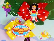 DC Super Hero Girls Wonder Woman Inspired Costume Dress Up Handmade Hair Clips