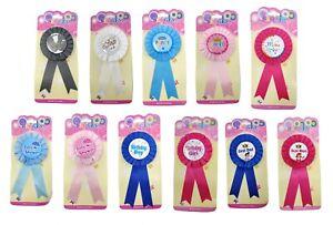 Ribbon Rosette Pin Badge Clip-on Birthday Baby Shower Groom Bride Best Mom Dad