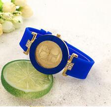 Reloj mujer lujo analógico quartz correa de goma azul y cristales sintéticos