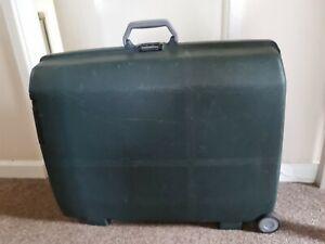 Vintage Large Samsonite Suitcase Hard Body Pull Along 2 Wheel Green Luggage