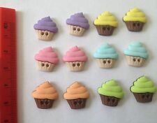 Small cupcakes sew thru multicoloured Novelty Buttons by Dress It Up 6927