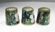 Estate Lot Mexico Abalone Flower Inlay Thimbles Set of 3 C2073