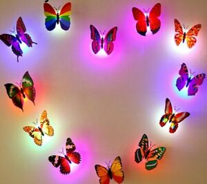 Butterfly Night Light Sticker Wall Decoration for Festival Party Birthday x 5