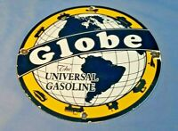 VINTAGE GLOBE GASOLINE PORCELAIN GAS MOTOR OIL SERVICE STATION PUMP PLATE SIGN