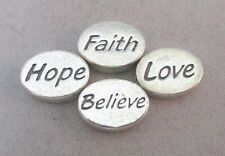 2-SIDED UNMARKED FLAT OVAL BEADS FAITH HOPE LOVE BELIEVE SET OF 4 **
